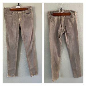 PAIGE verdugo skinny jeans gray metallic paint 28